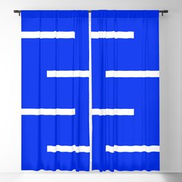 Abstract Minimal Retro Stripes Blue Blackout Curtain