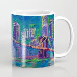New York City Night Lights - palette knife painting urban Brooklyn bridge skyline Coffee Mug