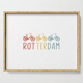Rotterdam Retro Bicycle Souvenir TShirt Dutch Flag Shirt Netherlands Cycling Gift Idea  Serving Tray