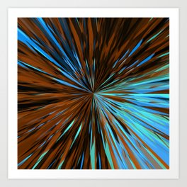 psychedelic splash painting abstract pattern in brown and blue Art Print