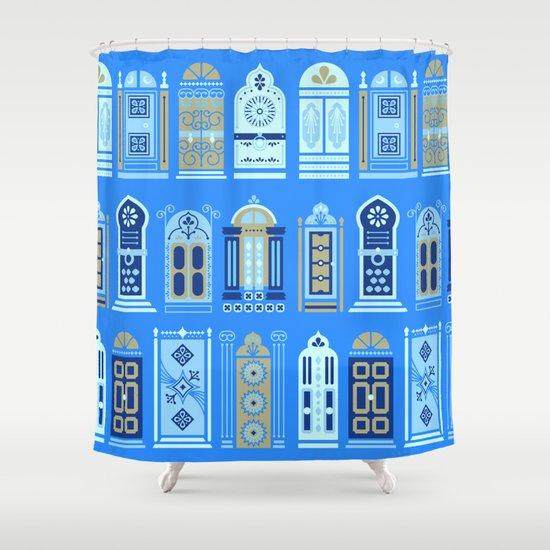 Moroccan Doors Cornflower Blue Palette Shower Curtain By