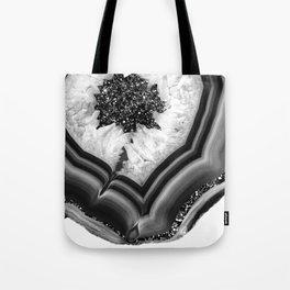 Gray Black White Agate with Black Silver Glitter #1 #gem #decor #art #society6 Tote Bag