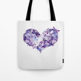Dragonfly Heart - Ultraviolet Purple Tote Bag