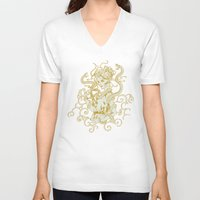 asian V-neck T-shirts featuring Asian Witch by Jenna V Genio