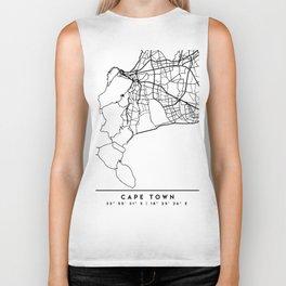 CAPE TOWN SOUTH AFRICA BLACK CITY STREET MAP ART Biker Tank