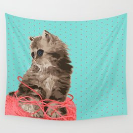 Messy Lil Cat Wall Tapestry