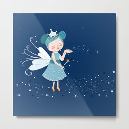 Cute fairy tale with blue dress sending stars illustration Metal Print