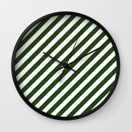 Large Dark Forest Green and White Candy Cane Stripes Wall Clock