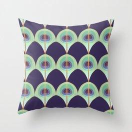 Peacock Feather Art Deco Throw Pillow