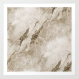 Classic Brown White Marble Rock Real Stone Art Print