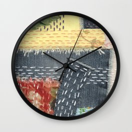 Boro Kantha Textile Art 001 Wall Clock