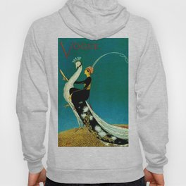 Vintage 1920's Jazz Age Flapper with White Peacock Fashion Poster Hoody