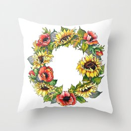 Sunflower Poppy wreath Throw Pillow
