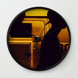 Yellow van Australian man Wall Clock