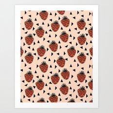 Yummy Strawberries by Andrea Lauren Art Print