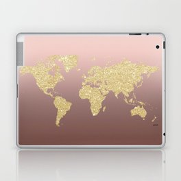 Gold Glitter on Rose Gold World Map Art Laptop & iPad Skin