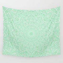 Most Detailed Mandala! Mint Green Color Intricate Detail Ethnic Mandalas Zentangle Maze Pattern Wall Tapestry