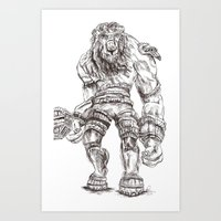 shadow of the colossus Art Prints featuring Minotaur from Shadow of the Colossus by Melissa Ou