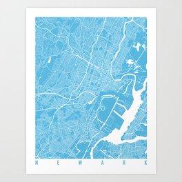 Newark map blue Art Print