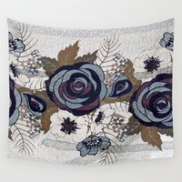 band Wall Tapestries featuring floral band and fabric effect by clemm