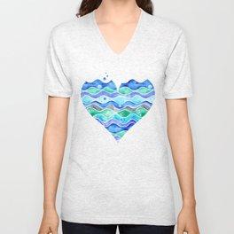A Sea of Love (blue) Unisex V-Neck