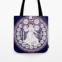 leia Tote Bags featuring Leia by NicoleGrahamART