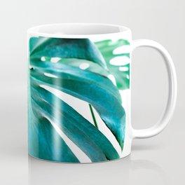 Monstera close up tropical leaf green turquoise photograhy Coffee Mug