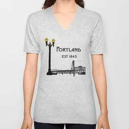 Historic Portland, Oregon by Seasons K Designs Unisex V-Neck