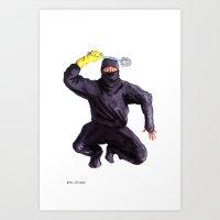 bathroom Art Prints featuring Bathroom Ninja by Del Gaizo
