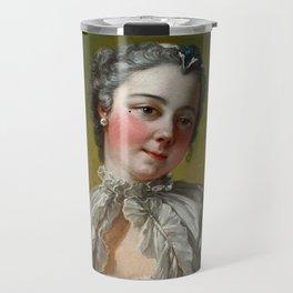 "François Boucher ""A young lady holding a pug dog"" Travel Mug"