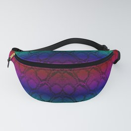 Bright Metallic Rainbow Python Snake Skin Fanny Pack