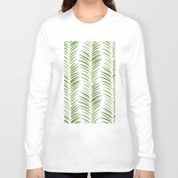 herringbone Long Sleeve T-shirts featuring Herringbone Green Nature Pattern by Maioriz Home
