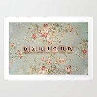 bonjour Art Prints featuring Bonjour by Christine Hall