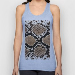 Pastel brown black white snakeskin animal pattern Unisex Tank Top