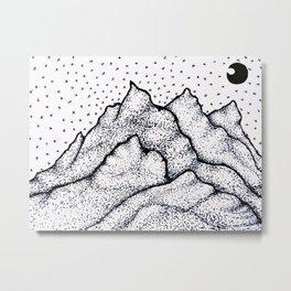 Moonlight Mountain Metal Print