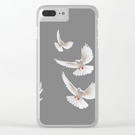 WHITE PEACE DOVES ON GREY COLOR DESIGN ART Clear iPhone Case