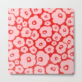 Retro Flower Pattern 140 Red and Pink Metal Print
