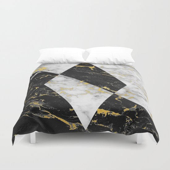 Diamond Gold Flecked Black Amp White Marble Duvet Cover