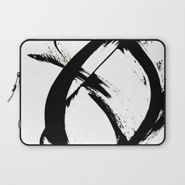 Brushstroke [7]: a minimal, abstract piece in black and white Laptop Sleeve