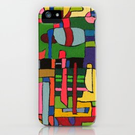 Colors in Collision 3 - Geometric Abstract of Colors that Clash iPhone Case