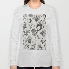 Vintage flowers on cream blackground Long Sleeve T-shirt