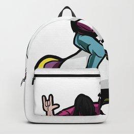 Metalhead riding a Unicorn Backpack