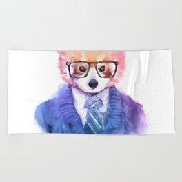 Cute fashion hipster animals pets red panda Beach Towel