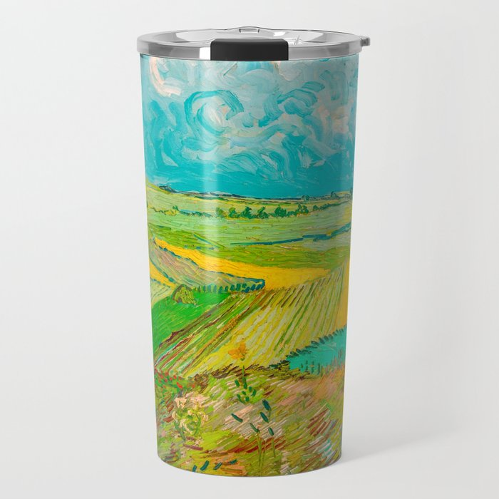 Wheat Fields after the Rain (The Plain of Auvers), July 1890 Oil Painting by Vincent van Gogh Travel Mug
