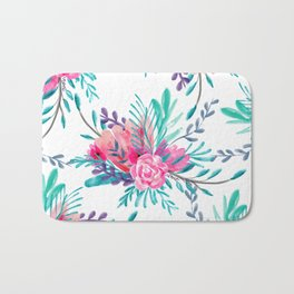 Modern hand painted pink turquoise floral watercolor pattern Bath Mat