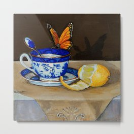 Teacup with Butterfly Metal Print