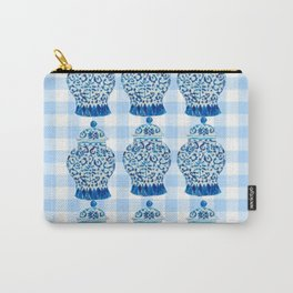 Blue and White Ginger Jar Gingham  Carry-All Pouch