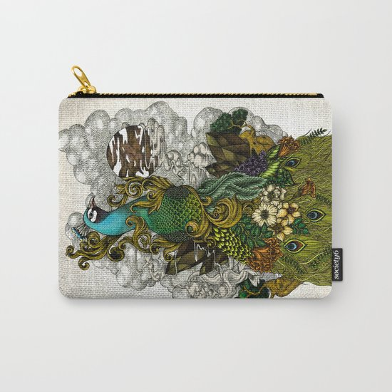Floral Peacock Carry-All Pouch