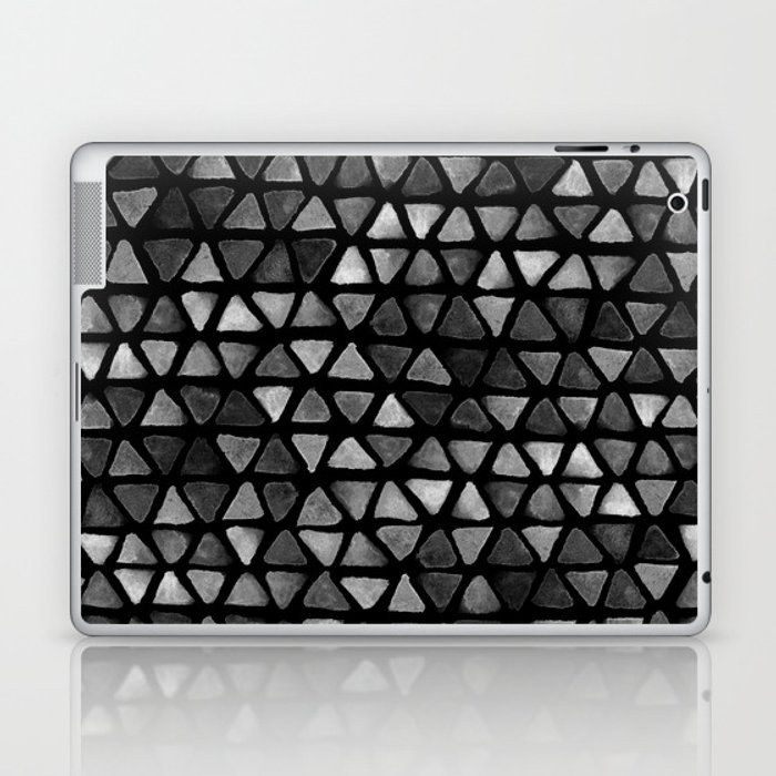 Triangle Watercolor Seamless repeating Pattern - Black and White Laptop & iPad Skin