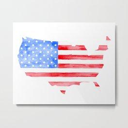 Watercolor USA Flag and Map Metal Print